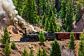 The Cumbres & Toltec Scenic Railroad train pulled by a steam locomotive on the 64 mile run between Antonito, Colorado and Chama, New Mexico. The railroad is the highest and longest narrow gauge steam railroad in the United States with a track length of 64