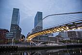 Isozaki Torres and Calatrava footbridge. Bilbao. Vizcaya. Basque Country. Spain. Europe.