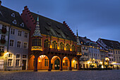 Historic Merchant´s Hall and historic buildings in the city of Freiburg im Breisgau at night, Baden-Wuerttemberg, Germany, Europe