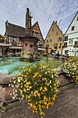 Saint-Leon fountain in the picturesque village of Eguisheim, Alsace, France, Europe