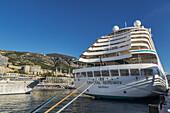 Crystal Serenity cruise ship in port Monte Carlo, Monaco.