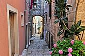 barrel-vaulted passage in a narrow street of Korcula old town, Korcula island, Croatia, Southeast Europe.