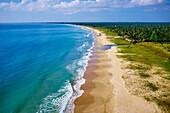 Sri Lanka, Ceylon, Eastern Province, East Coast, Passekudah, Kalkudah beach, aerial view.
