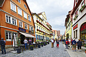 Outdoor Cafe Shopping Rothenburg Germany DE Franconia Bavaria.