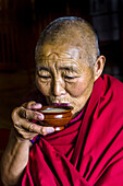 A Buddhist nun drinking yak butter tea, Drepung Monastery, Tibet (Xizang), China.