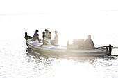 Boating, Natural Park L´Albufera, Dehesa del Saler, marsh, El Saler, Valencia, Spain.