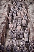 Qin Terracotta Warriors, Terra Cotta Army in a museum in Xi´an, Shaanxi, China 2014.