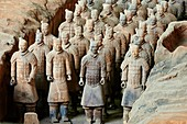 China, Shaanxi province, Xian, Lintong site, Detail of some of the six thousand statues in the Army of Terracotta Warriors, 2000 years old, from the tomb of the First Emperor of China, Unesco world heritage.