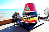 Southernmost Point Monument at Key West Florida FL destination for Western Caribbean Cruise from Tampa.