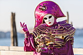 A masked person at the carnival in Venice, Italy, Europe