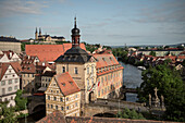 view across old town of Bamberg with old town hall and monastry church St. Michael, Frankonia Region, Bavaria, Germany, UNESCO World Heritage