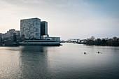two oarsman paddel in Media Harbour towards Hyatt Regency Hotel, Duesseldorf, North Rhine-Westphalia, Germany