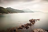 view at South China Sea from Shing Yeh Beach, Lamma Island, Hongkong, China, Asia, long time exposure