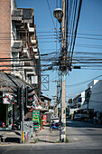power pole with plenty of cable, chaotic, Chiang Mai, Northern Thailand, Southeast Asia
