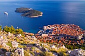 Old town Dubrovnik and Lokrum Island viewed from Srd Hill, Dubrovnik, Dalmatian Coast, Croatia.