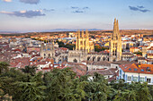 Aerial view of Burgos city and the Cathedral, Way of St. James, Burgos, Spain.