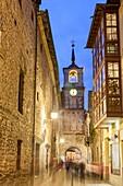 Clock tower in Ancha street, Ponferrada, Way of St. James, Leon, Spain.