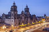 The Metropolitan Cathedral, in Plaza de la Constitución, El Zocalo, Zocalo Square, Mexico City, Mexico.