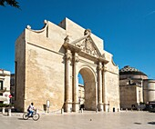 The Porta Napoli (1548) on the junction of Via Palmieri and Via Adua in Lecce, Puglia, Italy.