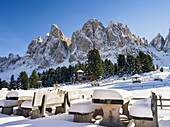 Geisler Mountain Range or Gruppo delle Odle Mountain Range in the valley of Villnoess in South Tyrol (alto adige) after a snowstorm in late fall. The Geisler Mtn. Range is part of the UNESCO world heritage dolomites. Europe, Central Europe, Italy, Novembe