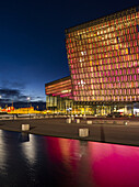 Reykjavik, Harpa, the new convert hall and conference center (inaugurated in 2011), night shot. The buidling is considered to be one of the new architectural icons of Iceland. europe, northern europe, iceland, February.