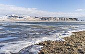 Coast of the North Atlantic near Vik y Myrdal during winter. europe, northern europe, scandinavia, iceland, February.