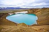 Krafla is a caldera of about 10 km in diameter with a 90 km long fissure zone, in the north of Iceland in the Myvatn region. Its highest peak reaches up to 818 m and it is 2 km in depth. There have been 29 reported eruptions in recorded history.