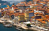 On background Arrábida bridge, Picture take from Luís I or Luiz I Bridge, Cais da Ribeira Street, Douro river, Porto, Portugal, Europe.