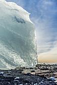 Close-up of stranded small icebergs on Jokulsarlon beach shore. Iceland.