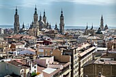 Panoramic views of Old town of Zaragoza with Basilic of Our Lady background, Zaragoza, Aragon, Spain.