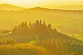 Tuscany Countryside with Farmhouse at Sunrise, San Quirico d´Orcia, Val d´Orcia, Provinz Siena, Tuscany, Italy.