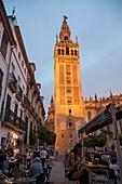 La Giralda tower of the cathedral originally built as a Moorish minaret in the twelfth century, Seville, Spain