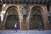 Main Doors of Palau Guell designed by Gaudi in Barcelona, Catalonia, Spain.