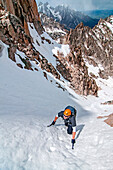 climbing the Petzoldt Couloir on Mount Heyburn high in the Sawtooth Mountains of central Idaho.