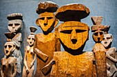 Chilean Museum of Pre-Columbian Art. Chemamulles, Mapuche funerary statues, Sala Chile antes de ser Chile (Chile before Chile Hall), Santiago. Chile.