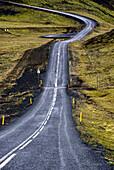 inland of Iceland, empty road number 435 to Nesjavellir - Geothermal station, near Thingvellir , Iceland.