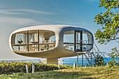 The coastguard station, 1968 built by the architect Ulrich Muether, today used as a registry office, Baltic resort Binz, island of Ruegen, Vorpommern-Ruegen, Mecklenburg-Western Pomerania, Germany, Europe.