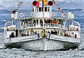 front view of steamboat, regular cruise, Geneva Lake, Switzerland.