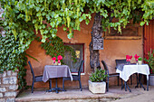 Outdoor cafe in Roussillon, Provence France.