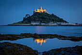 Dusk reflections below St. Michael´s Mount, Marazion, Cornwall, England.