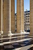 Columns along the front facade of the Pantheon, Paris, France.