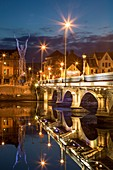 Beacon of Hope statue, Lagan Bridge and town of Belfast, County Antrim, Northern Ireland, UK.