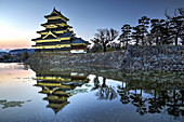 Matsumoto Castle reflecting in water at dusk.