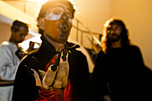 A Peruvian actor performs as Devil in the Good Friday procession during the Holy week in Lima, Peru