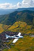 France, Bas Rhin 67, Wines road, Dambach-la-ville, Aerospool Dynamic plane flying over vineyards during autumn aerial view