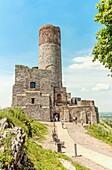 Tourists visiting Checiny Castle, Poland.