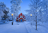 Small Wooden Church in Jukkasjarvi. Sweden. Cold winter with temperatures as low as -47 celsius. Lapland, Sweden.