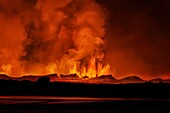 Lava fountains at night, eruption at the Holuhraun Fissure, near the Bardarbunga Volcano, Iceland.