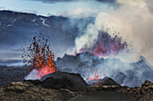 Volcano Eruption at the Holuhraun Fissure near Bardarbunga Volcano, Iceland. August 29, 2014 a fissure eruption started in Holuhraun at the northern end of a magma intrusion, which had moved progressively north, from the Bardarbunga volcano. Bardarbunga i