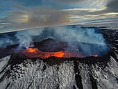 Volcano Eruption at the Holuhraun Fissure near the Bardarbunga Volcano, Iceland.